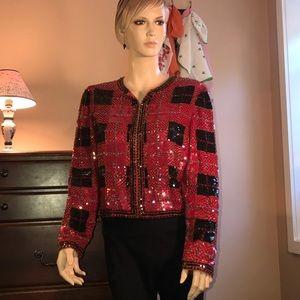 Vintage silk with bead embellished jacket